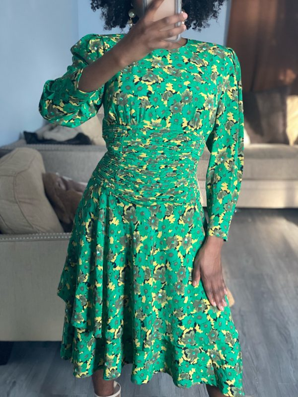 Vintage Green and Mustard Floral Dress