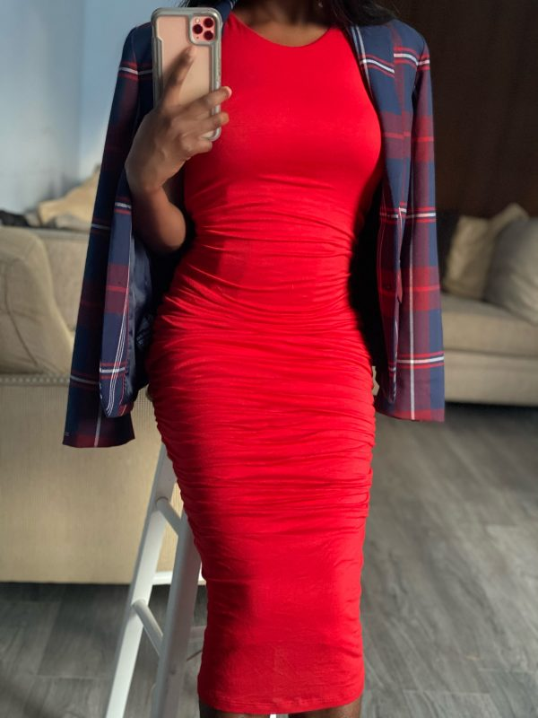 Revamped Red Ruched Dress